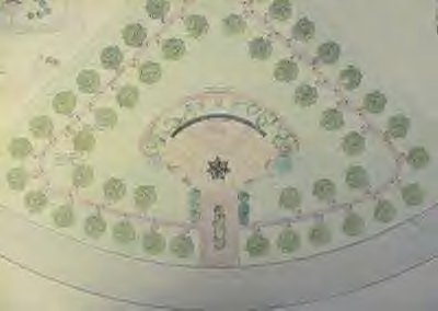 This is the architect's overhead view of the Memorial Park to be built on the entry grounds of the Tulsa Police Training Center.  This artwork prepared by Tulsa Architect, Charles Ward.